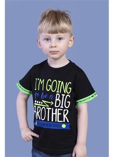Toontoy Kids Toontoy Erkek Çocuk Kolları Neon Şerit Detaylı Baskılı Tişört Siyah